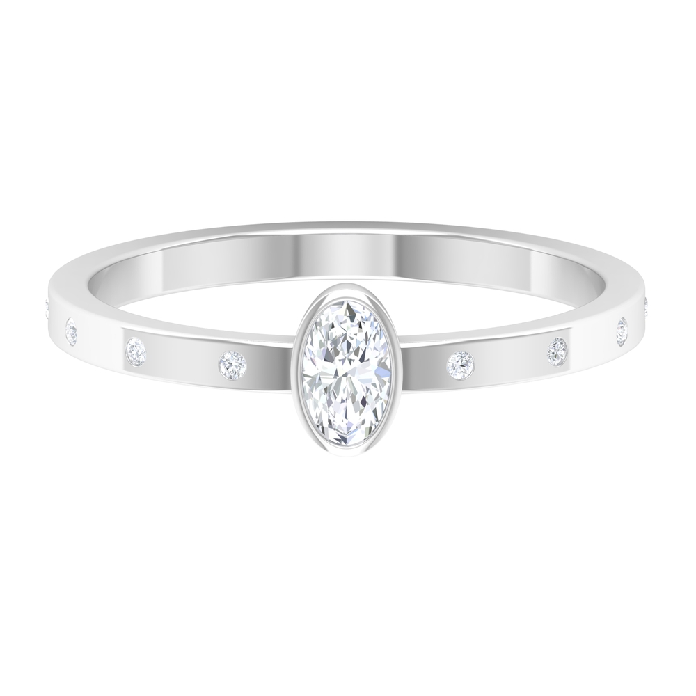 1/4 CT Oval Shape Solitaire Diamond Ring in Bezel Setting with Sleek Accent Diamond