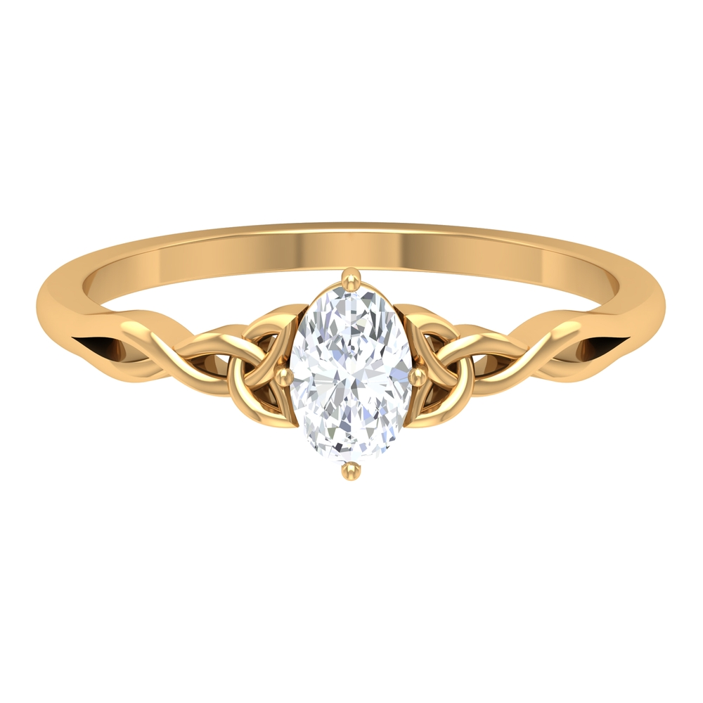 1/2 CT Oval Shape Solitaire Diamond Celtic Ring in 4 Prong Diagonal