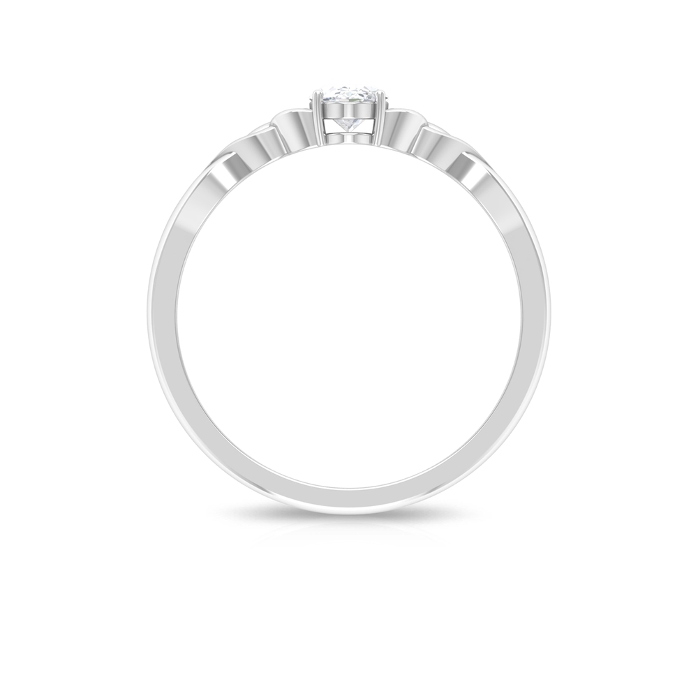 1/2 CT Oval Shape Solitaire Diamond Celtic Ring in 4 Prong Setting