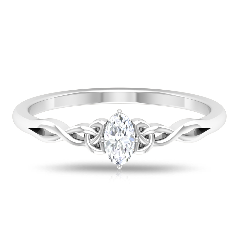 3X5 MM Oval Cut Solitaire Diamond Celtic Ring in 4 Prong Diagonal Setting