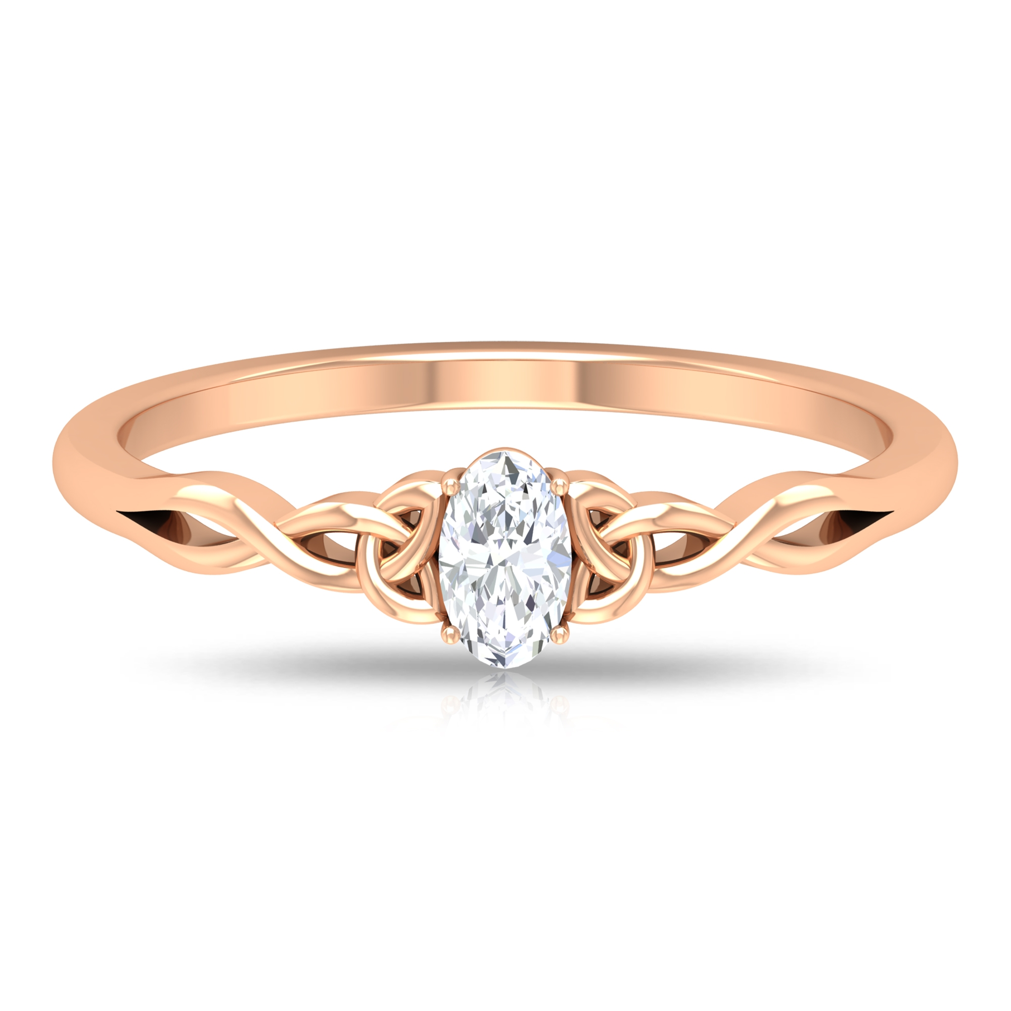 3X5 MM Oval Cut Solitaire Diamond Celtic Ring in 4 Prong Setting