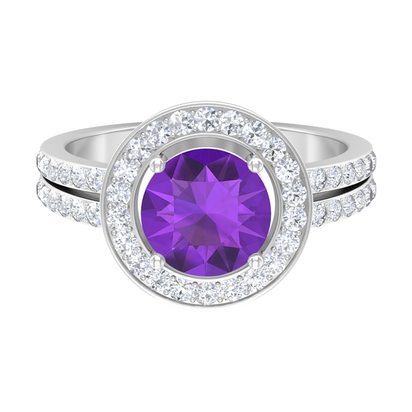 2.50 CT Bezel Set Amethyst Solitaire Ring with Moissanite Accent