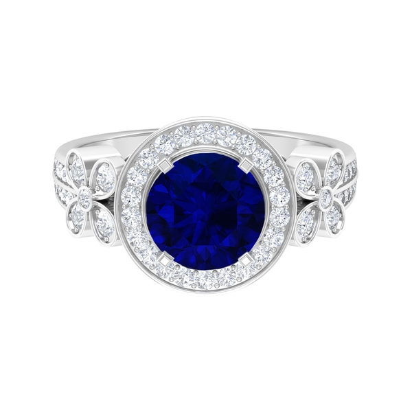 3 CT Blue Sapphire Solitaire and Moissanite Accent Floral Engagement Ring