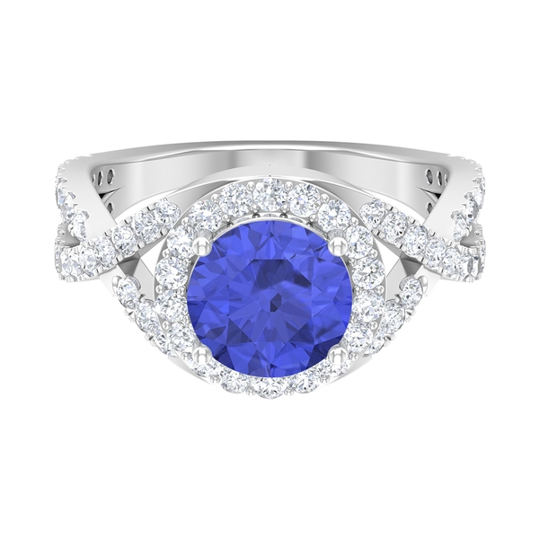 3 CT Tanzanite Spiral Shank Engagement Ring with Moissanite Accent