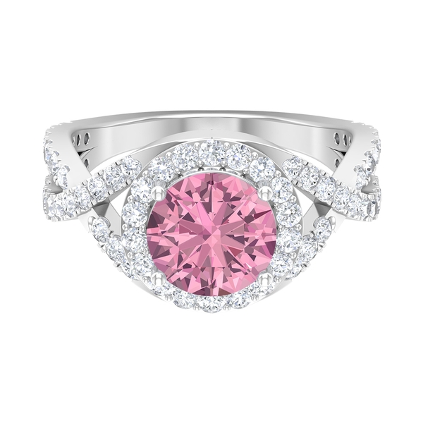 3 CT Pink Tourmaline Spiral Shank Engagement Ring with Moissanite Accent