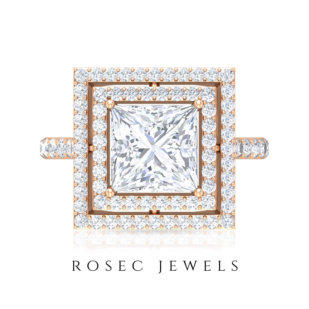 3.75 CT Princess Cut Moissanite Solitaire Ring with Double Halo