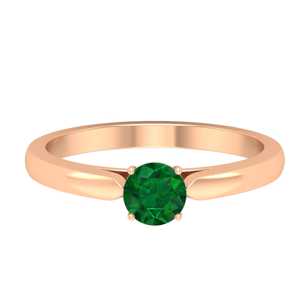 May Birthstone 5 MM Round Shape Solitaire Emerald Gold Ring in 4 Prong Setting