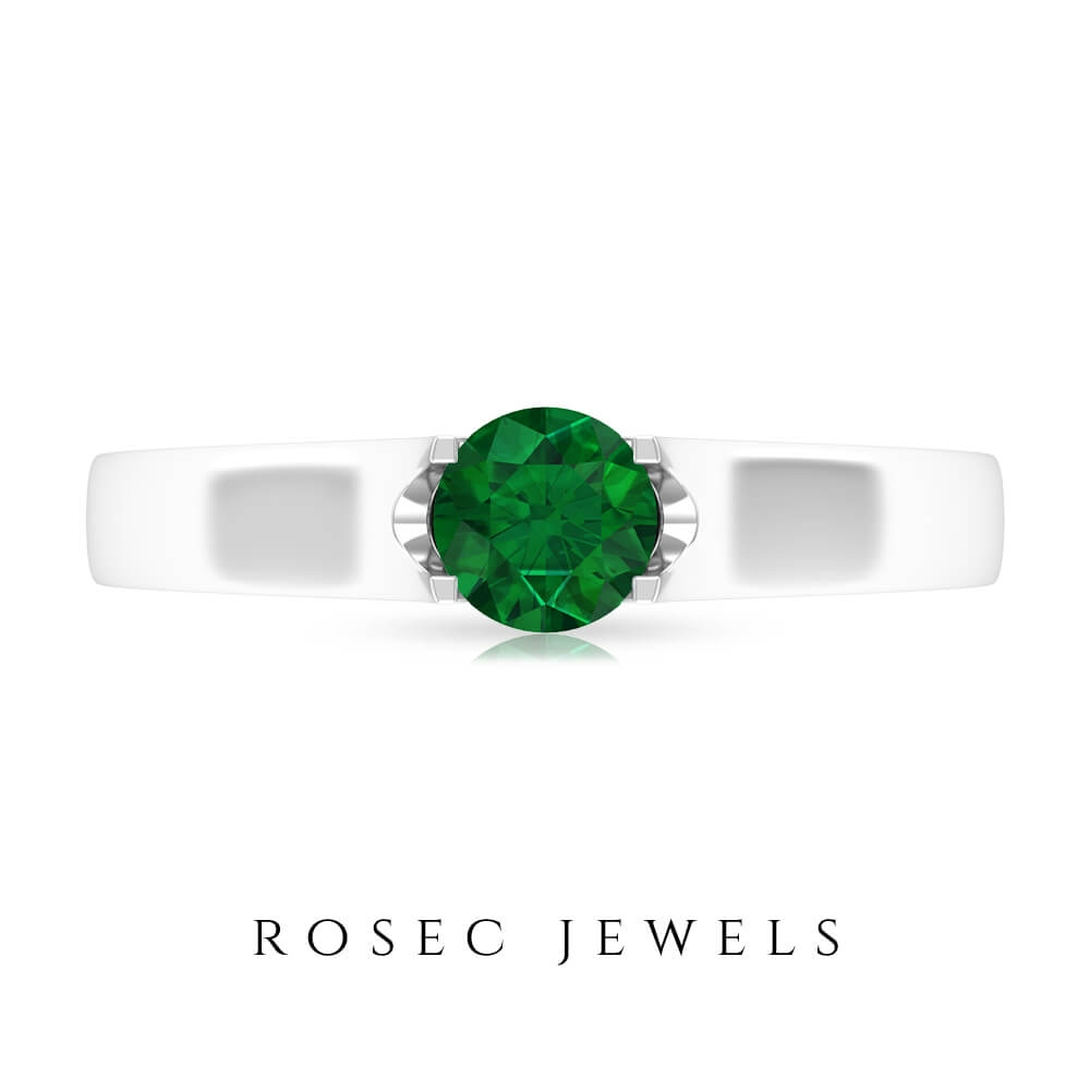 May Birthstone 5 MM Solitaire Emerald Promise Ring