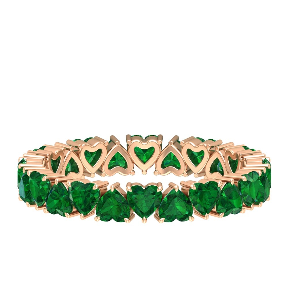 2.5 CT Heart Cut Emerald Eternity Band Ring for Women