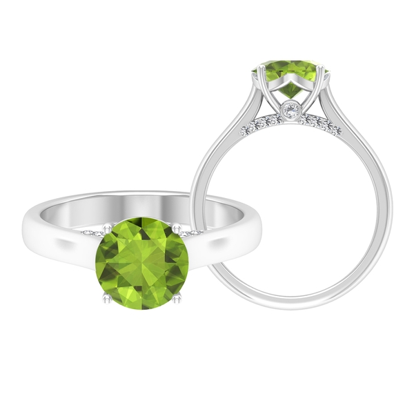 1/2 CT Crown Set Round Peridot Solitaire Ring with Moissanite