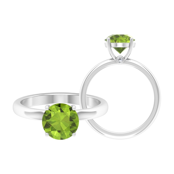 1/2 CT August Birthstone Peridot Solitaire Ring with Moissanite