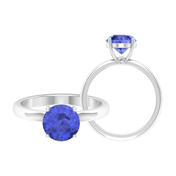 2 CT December Birthstone Tanzanite Solitaire Ring with Moissanite Accent
