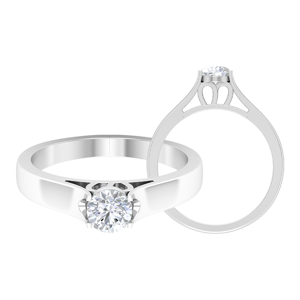 1/2 CT Moissanite Solitaire Promise Ring for Her