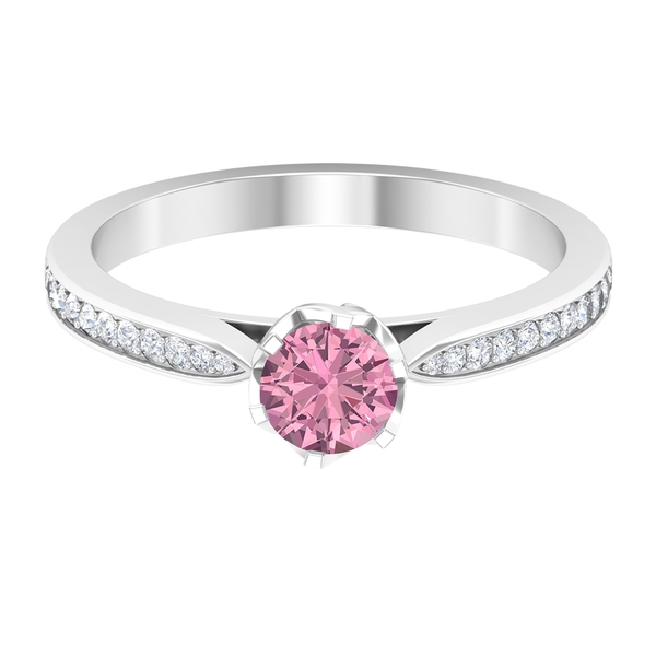 3/4 CT Pink Tourmaline Promise Ring with Diamond Side Stones