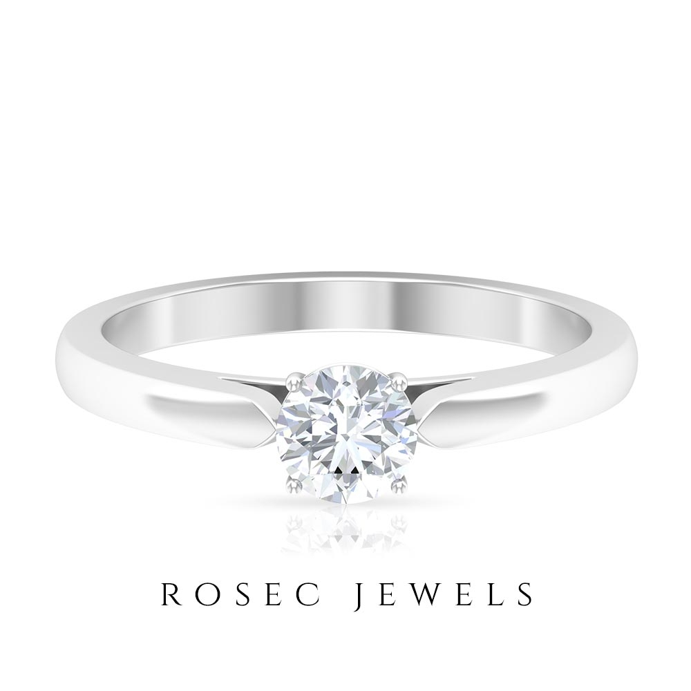 1/2 CT Crown Set Round Moissanite Promise Ring for Women