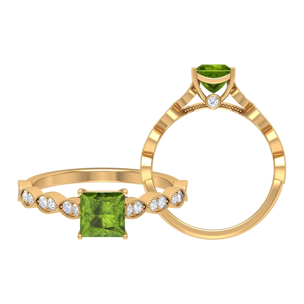 1.25 CT Princess Cut Peridot Vintage Engagement Ring with Moissanite Side Stones