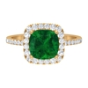 2.75 CT Cushion Cut Created Emerald and Diamond Halo Engagement Ring