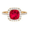 2.5 CT Cushion Cut Created Ruby and Diamond Halo Engagement Ring