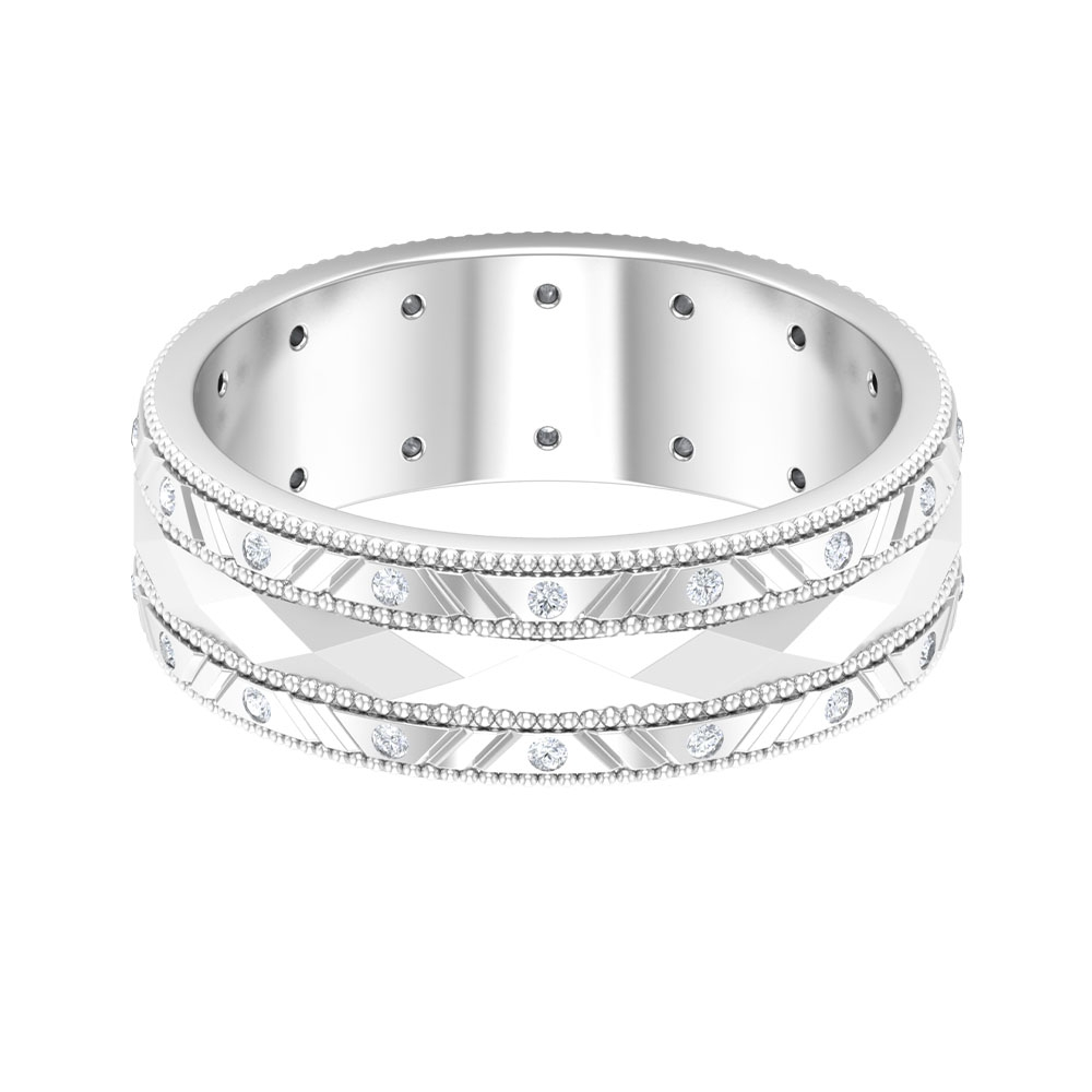 Unique Wide Wedding Band with Diamonds and Milgrains