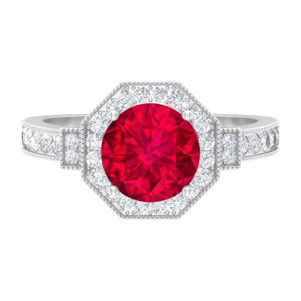 2.75 CT Lab Created Ruby Art Deco Ring with Diamond Accent