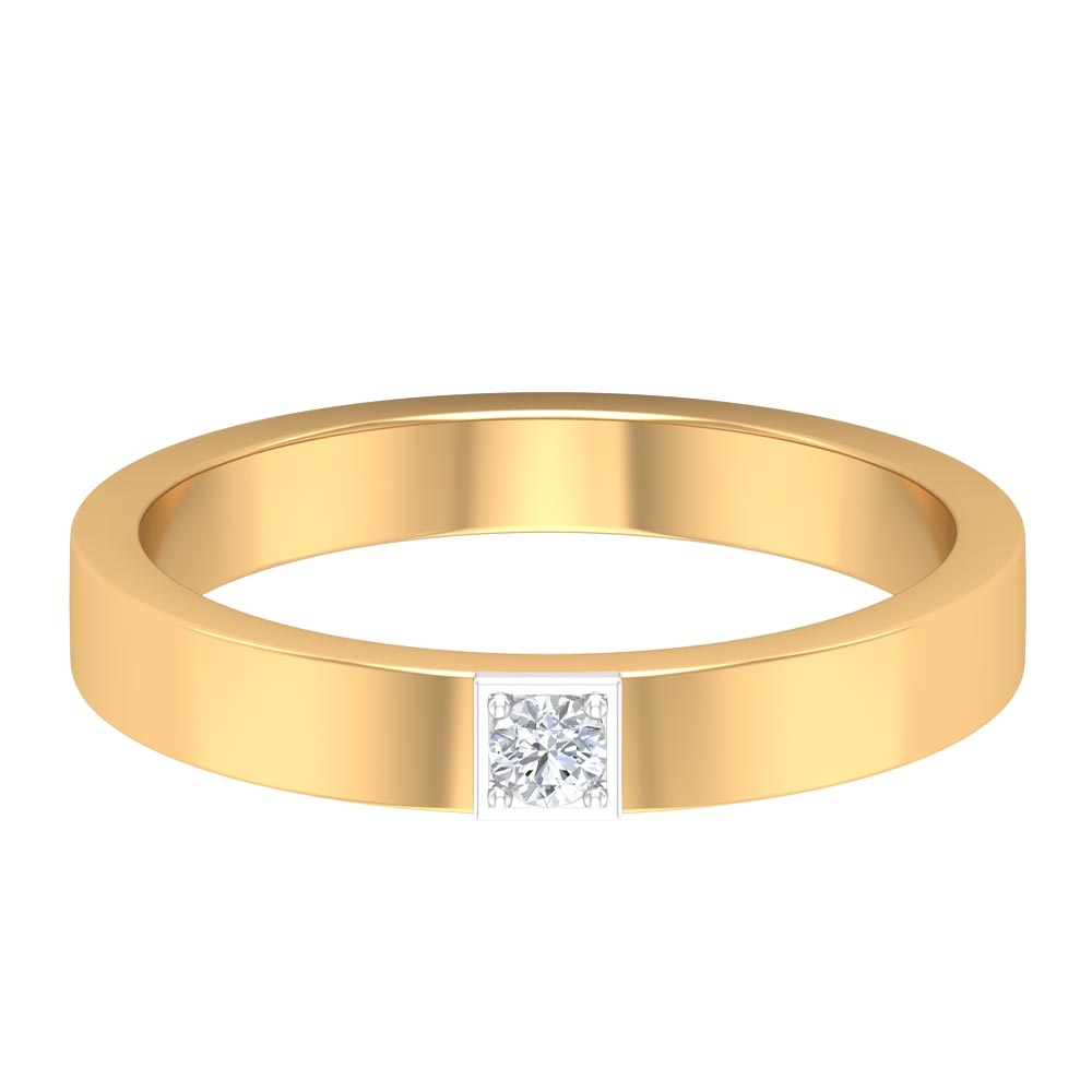 Diamond Solitaire Two Tone Gold Unisex Wedding Band