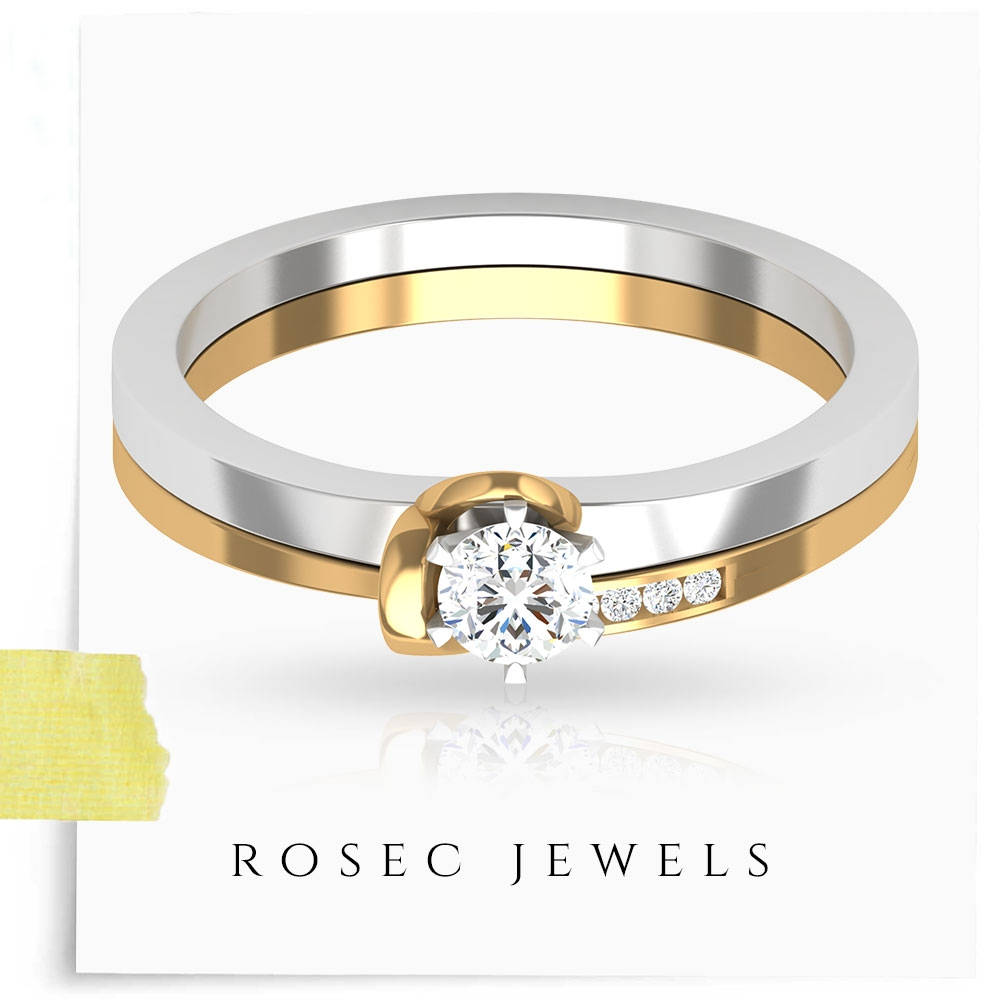 1/4 CT Solitaire Diamond Minimal Ring Set in 6 Prong Peg Head Setting
