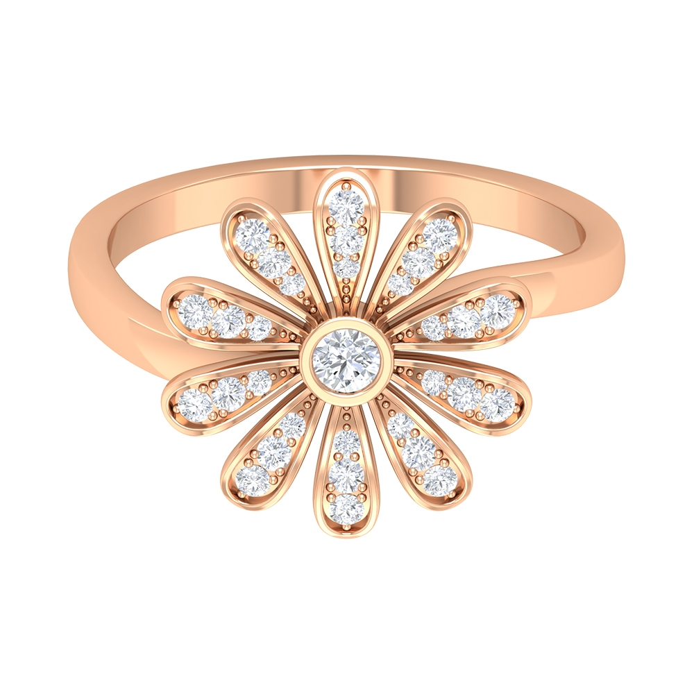 1/4 CT Floral Statement Ring with Diamonds