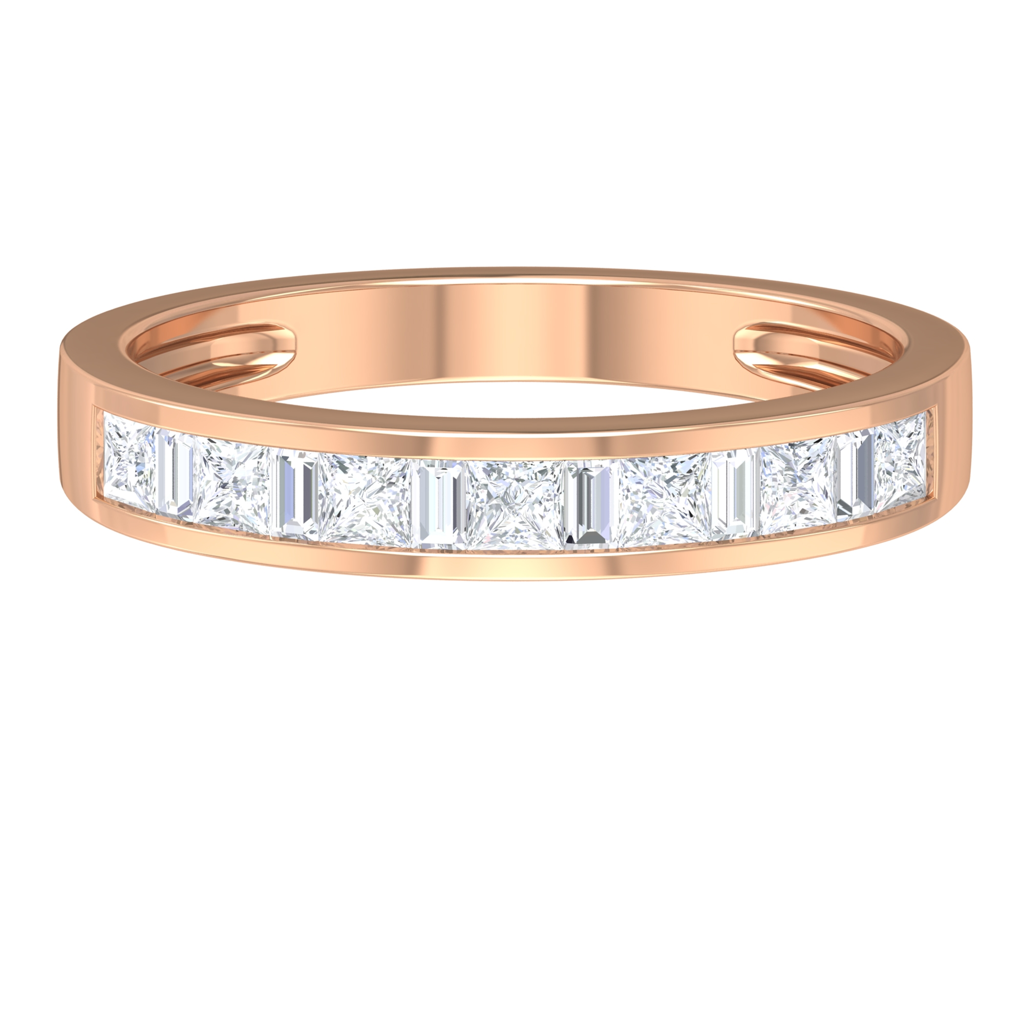 3/4 CT Baguette and Princess Cut Diamond Unisex  Band Ring