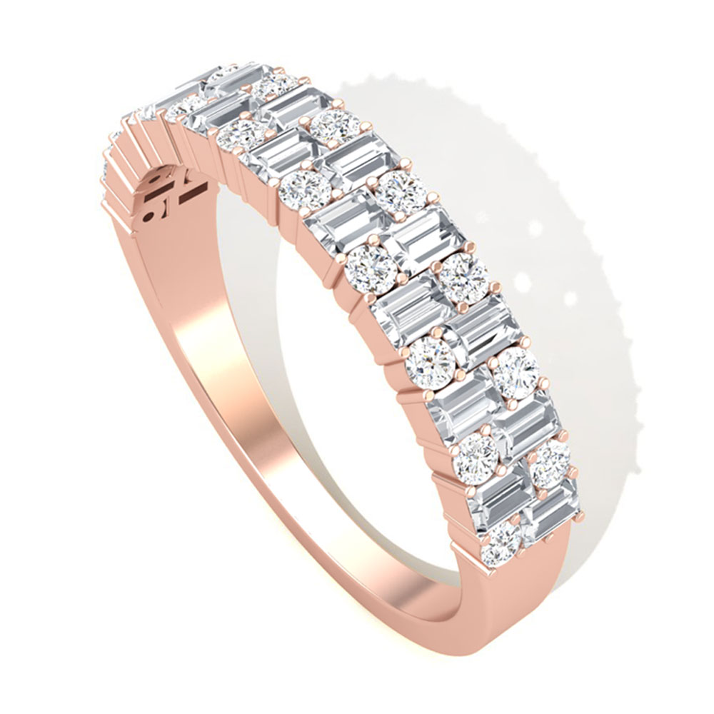 3/4 CT Baguette and Round Diamond Wedding Band