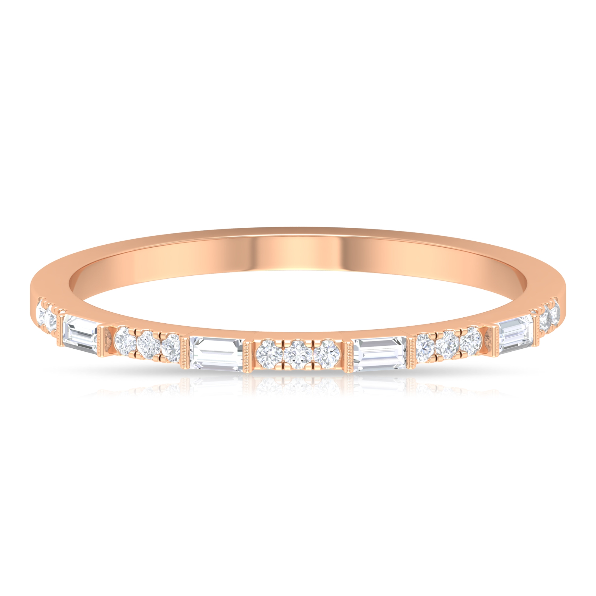 Baguette and Round Cut Diamond Stackable Ring