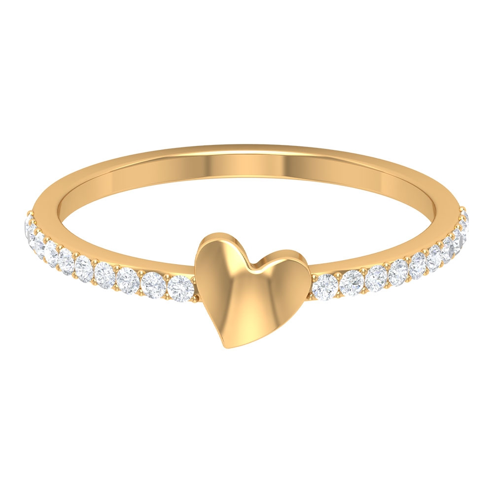1/4 CT Gold Heart Promise Ring with Diamond