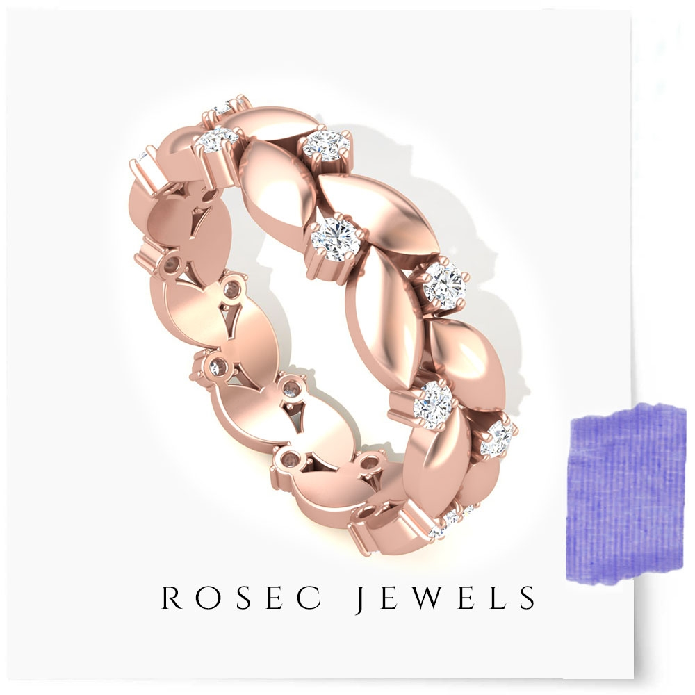 1/2 CT Diamond Leaf Anniversary Band for Her