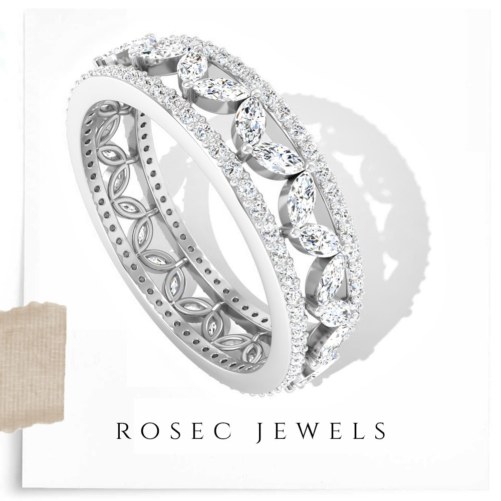 1.5 CT Thick Diamond Wedding Bands for Her