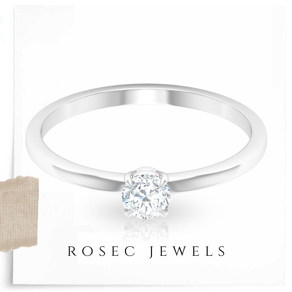 4X4 MM Round Cut Diamond Solitaire Ring in Claw Setting