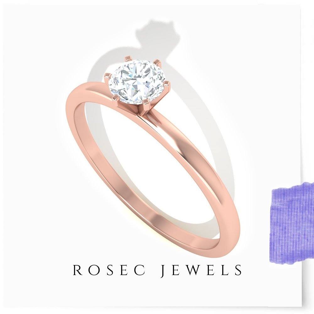 1/4 CT Diamond Solitaire Ring for Women in 6 Prong Peg Head Setting