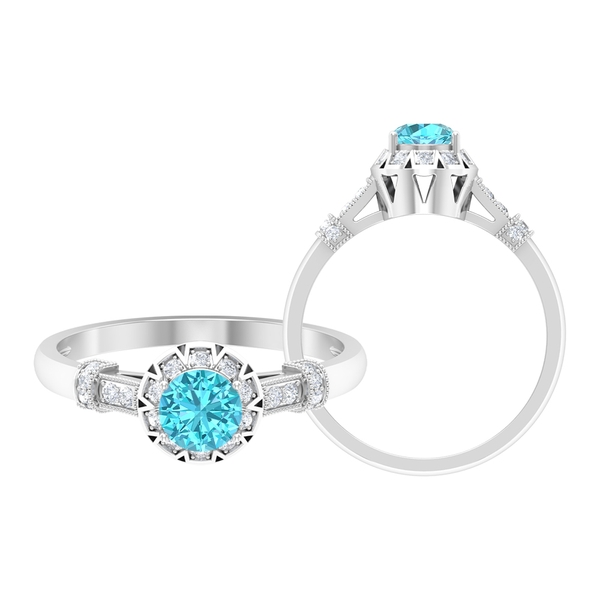 3/4 CT Swiss Blue Topaz and Diamond Antique Engagement Ring