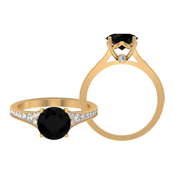 2.75 CT Black Diamond Solitaire Engagement Ring with Diamond Side Stones