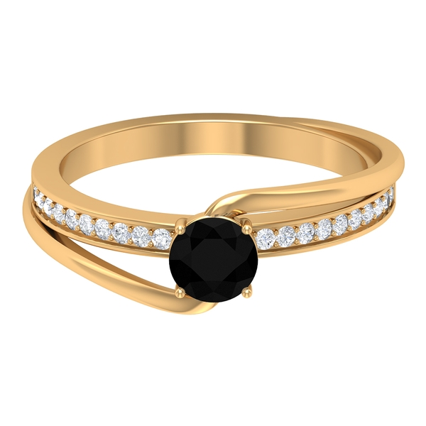 3/4 CT Solitaire Black and White Diamond Bypass Ring
