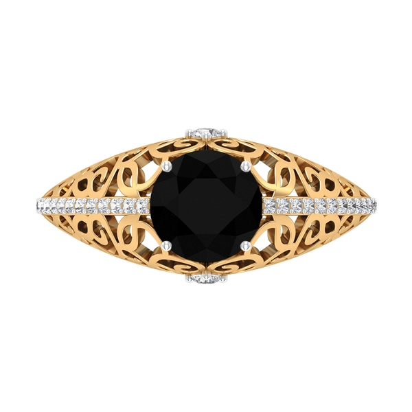 1.75 CT Black Diamond Vintage Cutout Gold Band Ring with Diamond Accent
