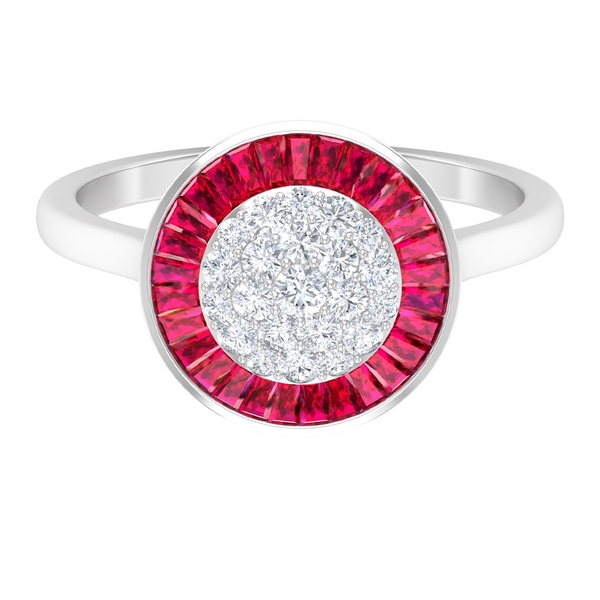 4.25 CT Diamond Cluster Statement Ring with Ruby Halo