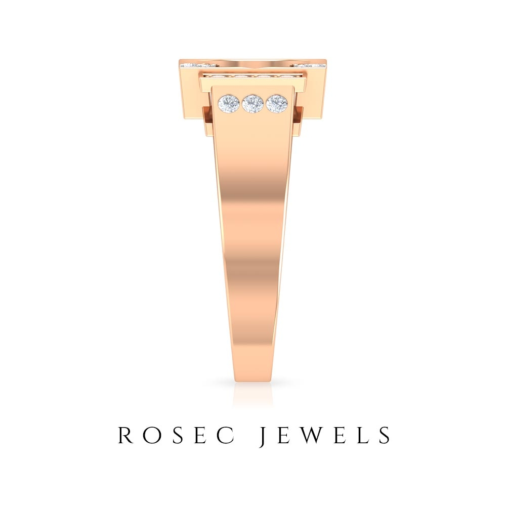1/2 CT Diamond Cluster G Initial Unisex Gold Ring