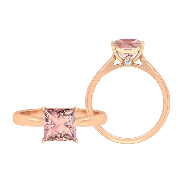 2 CT Princess Cut Lab Created Morganite Simple Solitaire Ring with Surprise Moissanite