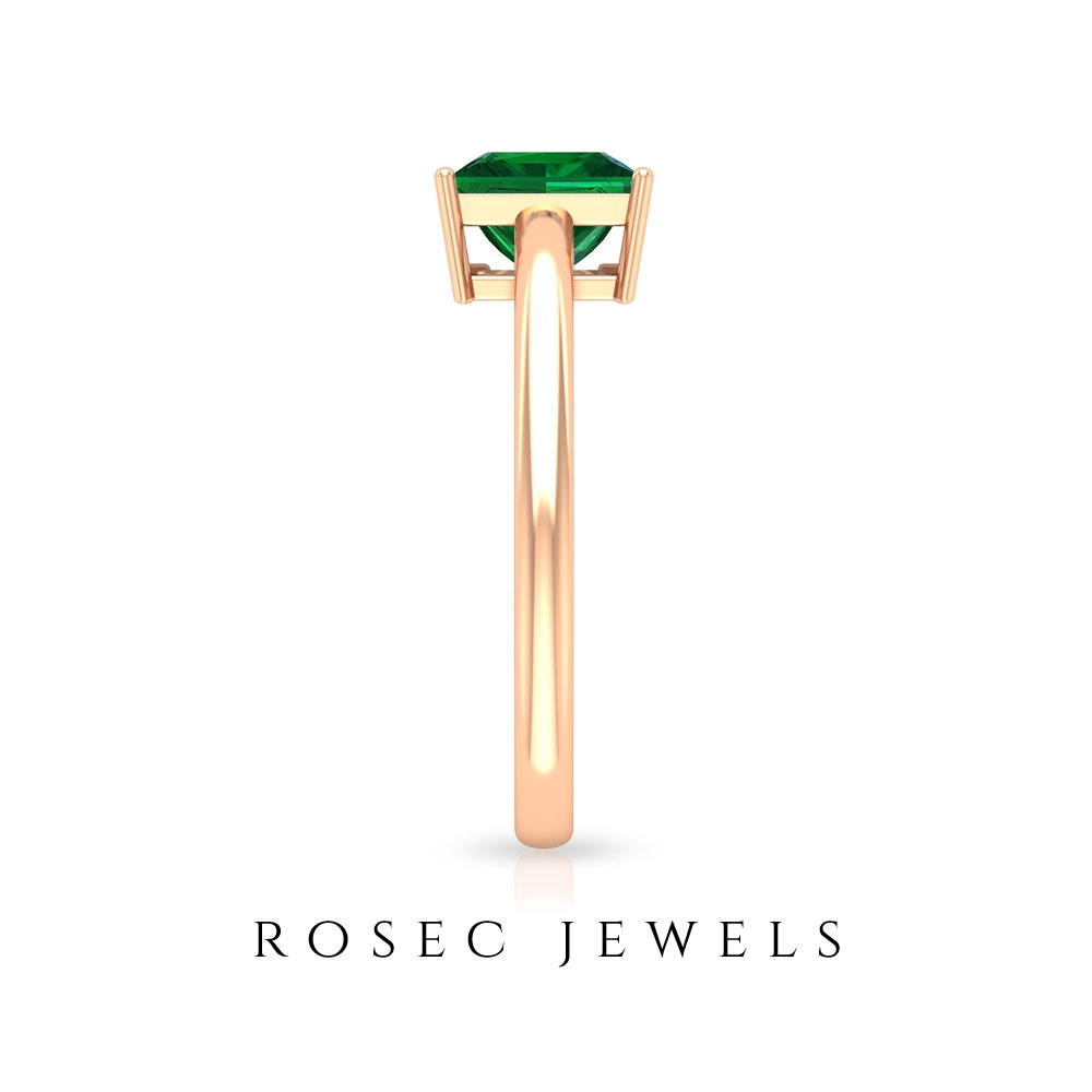 1.50 CT Princess Cut Emerald Simple Solitaire Gold Ring