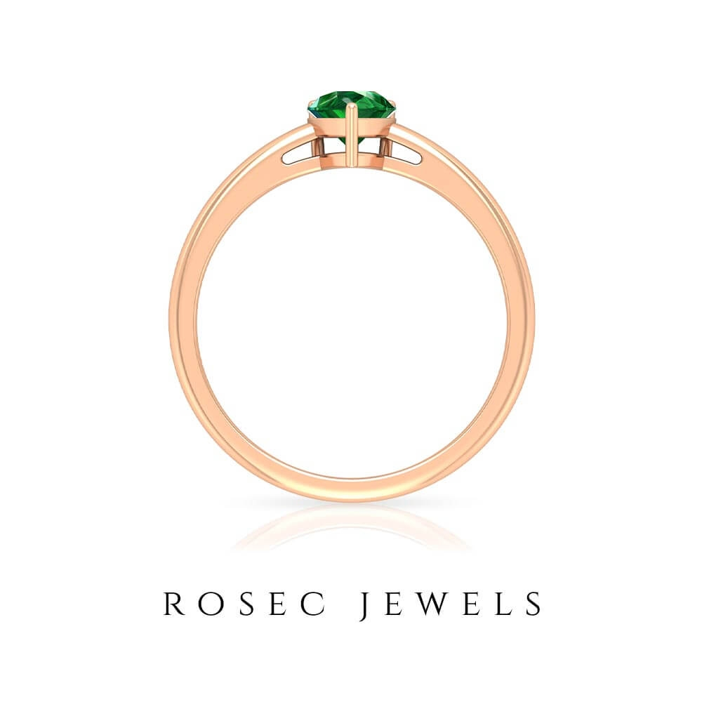 1 CT Pear Cut Emerald Simple Solitaire Gold Ring