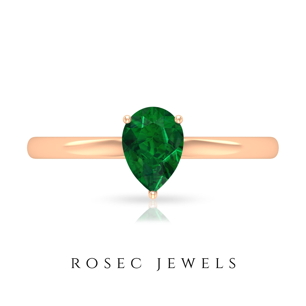 7X5 MM Pear Cut Emerald Solitaire Ring in 3 Prong Setting