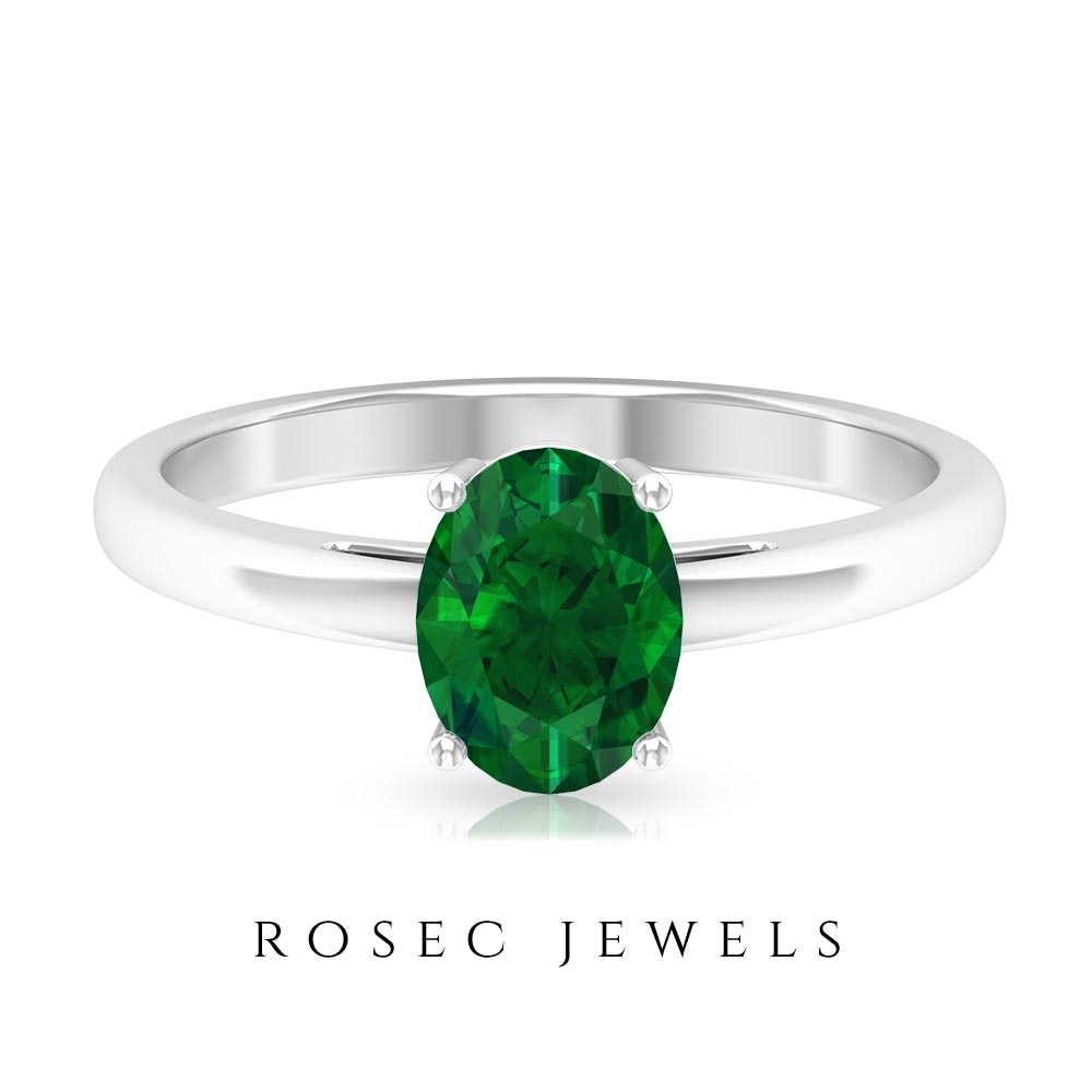 1.25 CT Oval Cut Emerald Simple Solitaire Gold Ring