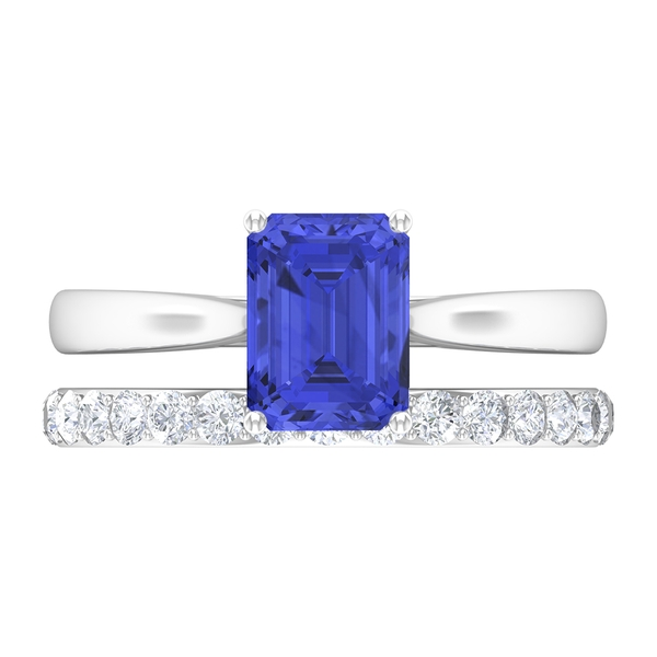 2.25 CT Octagon Cut Tanzanite Solitaire Bridal Ring Set with Moissanite Band