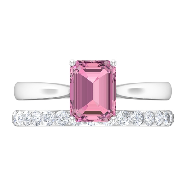 3 CT Bridal Ring Set with Octagon Cut Pink Tourmaline Ring and Moissanite Band