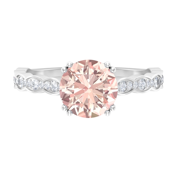 2.25 CT Created Morganite Solitaire Engagement Ring with Moissanite Side Stones