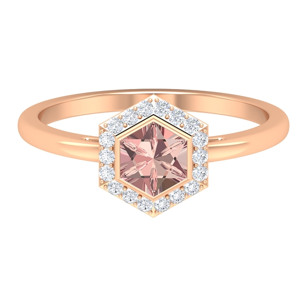 3/4 CT Hexagon Cut Created Morganite Solitaire Ring with Diamond Halo